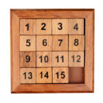 pocket sliding fifteen puzzle game isolated on white background. with clipping path